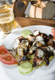 grek piec na grillu wyspy marynowany ośmiornicy taverna Fotografia Stock