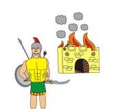 Grek przy bramami Troja ilustracji