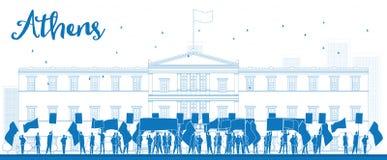 Grek som framme protesterar av den grekiska parlamentet i Aten, Gree vektor illustrationer