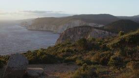 Grekisk ö i aftonen Rörande övre för kamera lager videofilmer