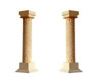 Grekisk arkitektonisk kolonn som isoleras på vit bakgrund Fotografering för Bildbyråer