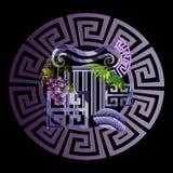 Grekisk dekorativ vektoremblemmodell Abstrakta prydnader 3d stock illustrationer