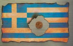 Grekisk flagga borstat metallabstrakt begrepp fotografering för bildbyråer