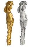 Grekisk forntida staty av karyatiderna på vit bakgrund Arkivbilder