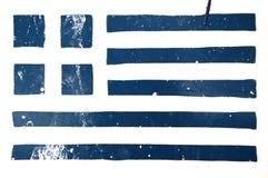 grekisk grungestencil för flagga Royaltyfri Bild