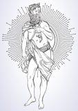 Grekisk gud, den mytologiska hjälten av forntida Grekland Hand-dragit härligt isolerat vektorkonstverk classicism Myter och legen royaltyfri illustrationer