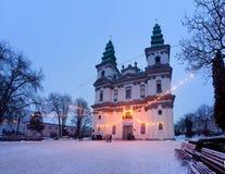 Grekisk katolsk domkyrka i Ternopil, Ukraina Arkivfoto