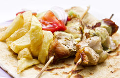 grekisk kebabshishsouvlaki Arkivbilder