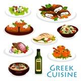 Grekisk kokkonstmatställesymbol med medelhavs- mat royaltyfri illustrationer