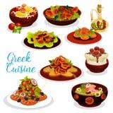 Grekisk kokkonstsymbol av havs- lunch med efterrätten stock illustrationer