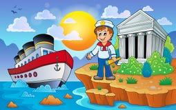 Grekisk kust med skeppet och sjömannen stock illustrationer
