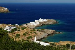 Grekisk kustlinje Arkivbilder