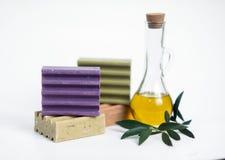 Grekisk olivgrön tvål - ordnad closeup arkivbild