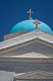 Grekisk ortodox kyrka på Santorini Royaltyfri Foto