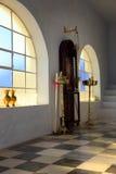 Grekisk ortodox kyrka, Santorini Arkivbild