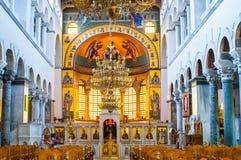 Grekisk ortodox kyrklig interior Royaltyfria Bilder