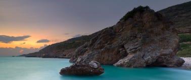 grekisk panorama- seascape Fotografering för Bildbyråer