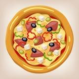 Grekisk pizzavektorillustration Vektor Illustrationer