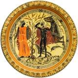 Grekisk platta med bild av de mytologiska hjältarna royaltyfri foto