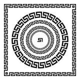 grekisk prydnad Cirkelprydnadslingringar Rund ram, rosett av forntida beståndsdelar Grekisk nationell antikvitetrundamodell, vekt Arkivbild