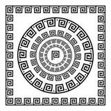 grekisk prydnad Cirkelprydnadslingringar Rund ram, rosett av forntida beståndsdelar Grekisk nationell antikvitetrundamodell, vekt royaltyfri illustrationer