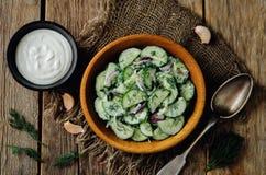Grekisk sallad för gurka för röd lök för yoghurt arkivbilder