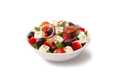 Grekisk sallad i en salladbunke Royaltyfri Bild
