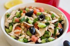 Grekisk sallad med höna arkivbild