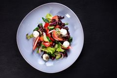 Grekisk sallad, traditionellt recept, restaurangmeny royaltyfri bild