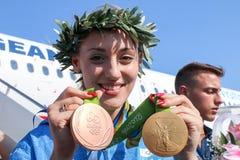 Grekisk skyttestjärna Anna Korakaki - Rio Olympics royaltyfri foto