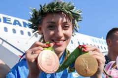 Grekisk skyttestjärna Anna Korakaki - Rio Olympics arkivfoton