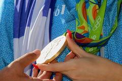 Grekisk skyttestjärna Anna Korakaki - Rio Olympics arkivbild