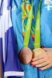 Grekisk skyttestjärna Anna Korakaki - Rio Olympics royaltyfria foton