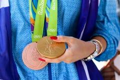 Grekisk skyttestjärna Anna Korakaki - Rio Olympics fotografering för bildbyråer