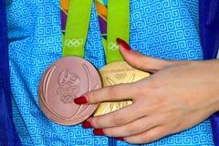 Grekisk skyttestjärna Anna Korakaki - Rio Olympics arkivfoto