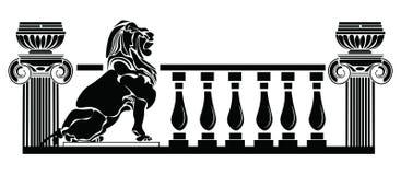 Grekisk stil för arkitektoniska kolonner och lejonkontur vektor illustrationer