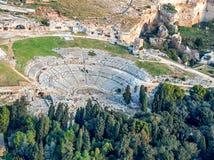 Grekisk teater av Syracuse Sicilien arkivbild