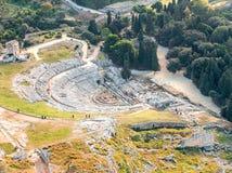 Grekisk teater av Syracuse Sicilien royaltyfri bild