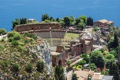 Grekisk teater av Taormina Sicilien Fotografering för Bildbyråer