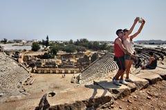 Grekisk teater i forntida stad av Myra, Antalya region, Turkiet Arkivfoto