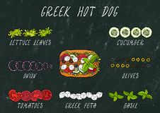 Grekisk varmkorvingredienskonstruktör Fetaost, basilika Oliv grönsallatsallad, tomat, gurka Snabbmatsamling Hand dra royaltyfri fotografi