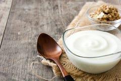 Grekisk yoghurt i den glass bunken arkivfoto
