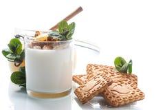Grekisk yoghurt med honung och kex fotografering för bildbyråer