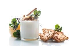 Grekisk yoghurt med honung och kex royaltyfri bild