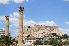 grekiska acropoliskolonner Royaltyfri Fotografi