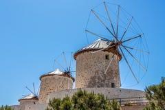Grekiska väderkvarnar i Turkiet Fotografering för Bildbyråer