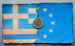 Grekiskt dela för euroflagga royaltyfri fotografi