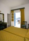 grekiskt följe för hotellislemykonos Arkivbilder