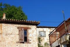 Grekiskt hus för gammal sten Fotografering för Bildbyråer
