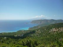 Grekiskt kustlinjehav Rhodes, Grekland, grekiska öar Royaltyfria Bilder